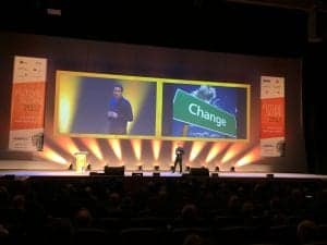 Keynote speaker Mark Little takes to the stage at FutureScope 2017 in Dublin's Convention Centre